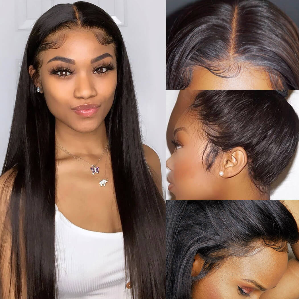 13x4 Lace Front Wigs Brazilian Straight Human Hair Wigs Glueless 150% 220% Density Pre Plucked Swiss Lace