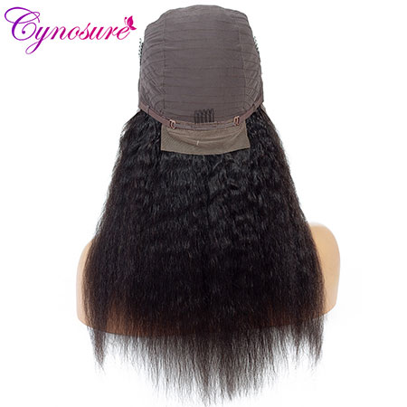 back view of cynosure long kinky straight human hair lace front wigs